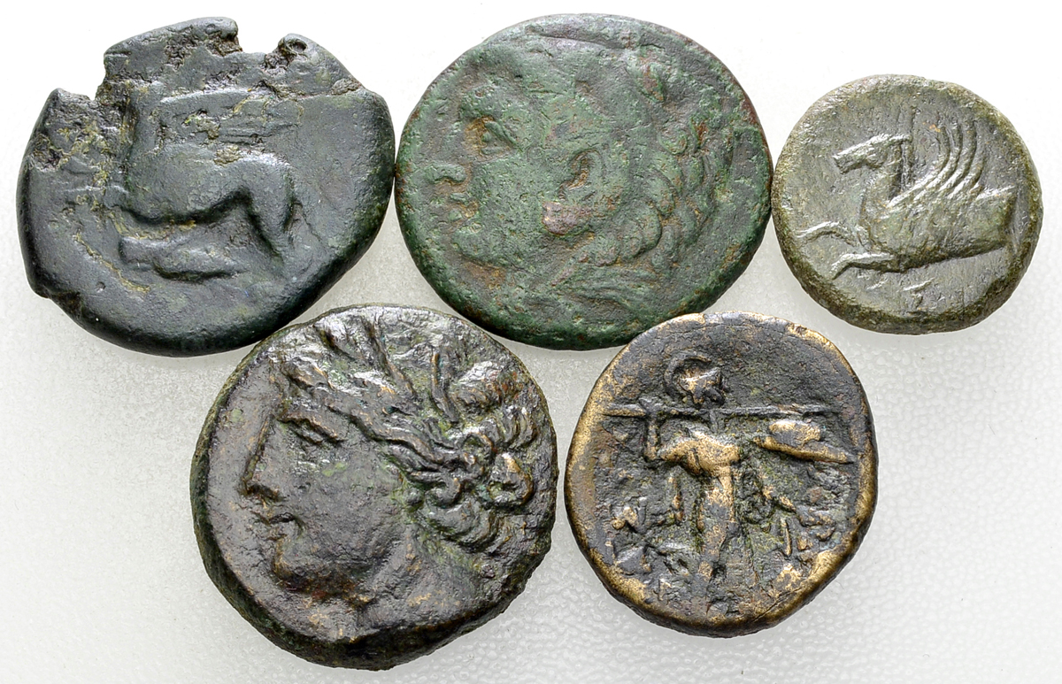Lot of 5 Greek AE coins