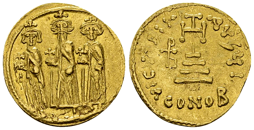 Heraclius, with Heraclius Constantine and Heraclonas AV Solidus