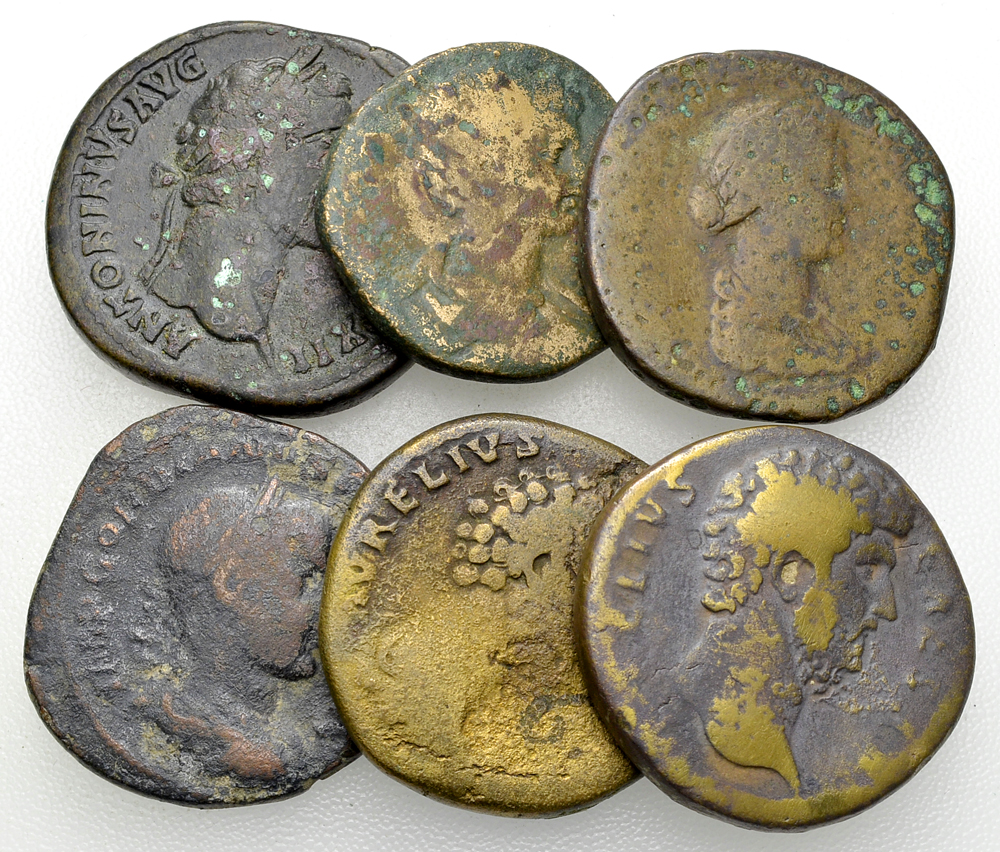 Lot of 6 Roman imperial AE sestertii