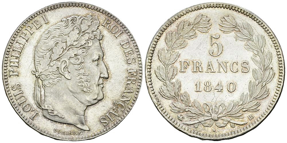 Louis-Philippe I, AR 5 Francs 1840 BB, Strasbourg