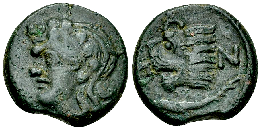 Pantikapaion AE20, head of Satyr/lion's head, c. 310-304/3 BC