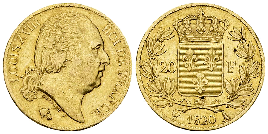Louis XVIII, AV 20 Francs 1820 A, Paris