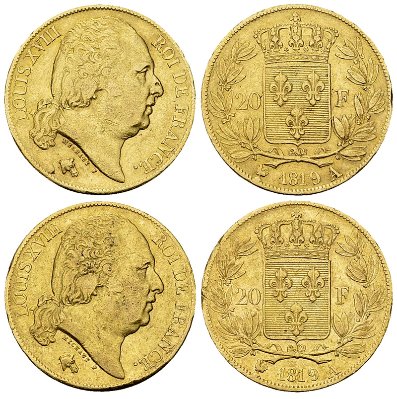 Louis XVIII, Lot de 2 AV 20 Francs 1819 A, Paris