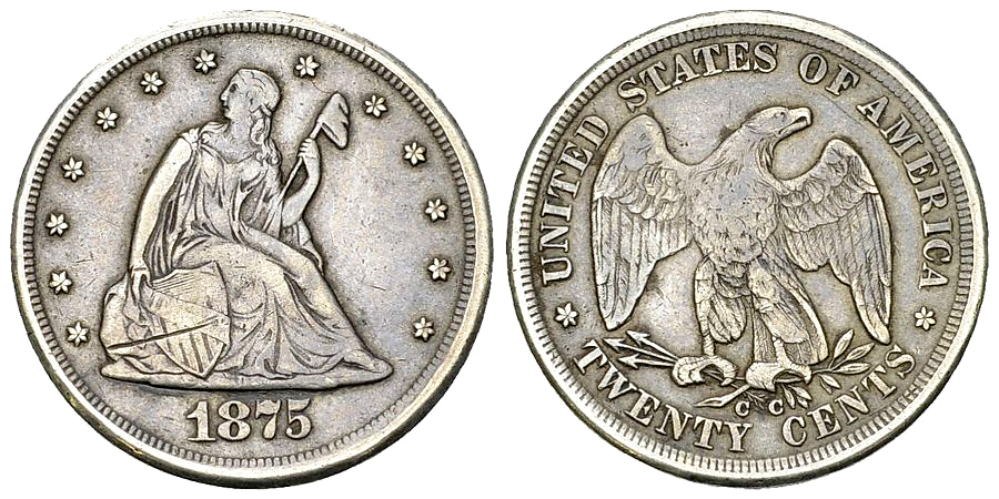 USA AR 20 Cents 1875 CC