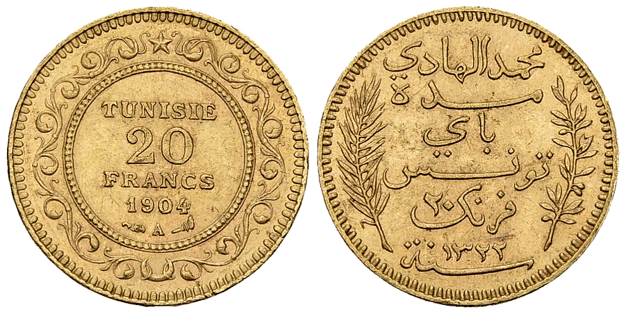 Tunisia AV 20 Francs 1904 A, Paris