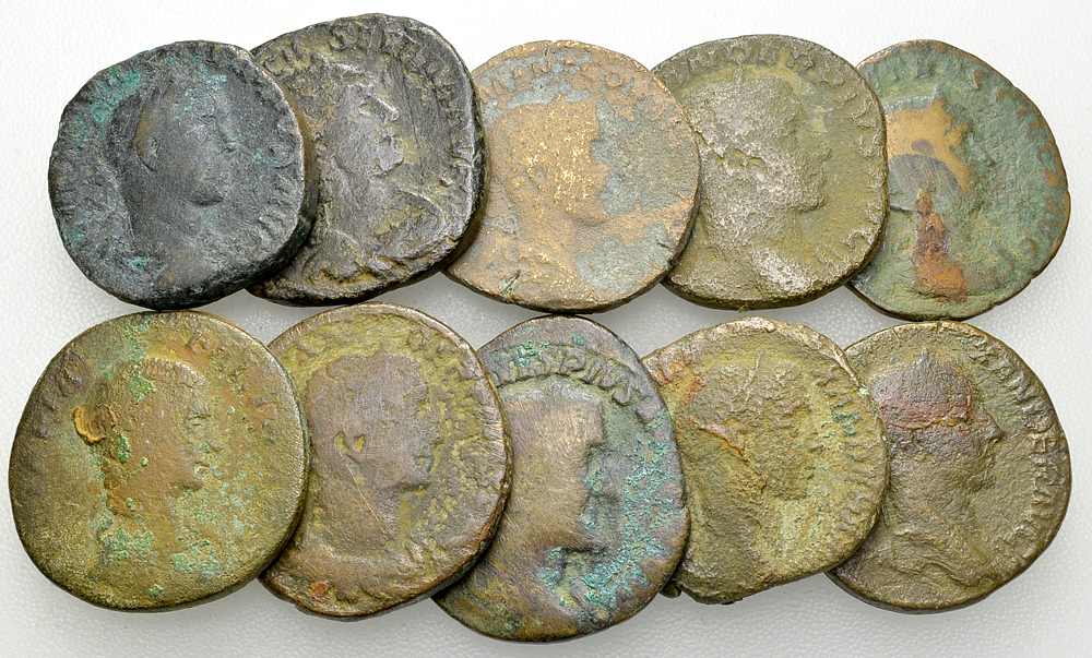 Lot of 10 Roman imperial AE sestertii